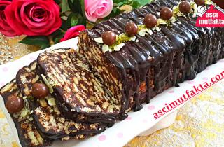 Bitter Çikolatalı Mozaik Pasta Tarifi ( Kalıpta )